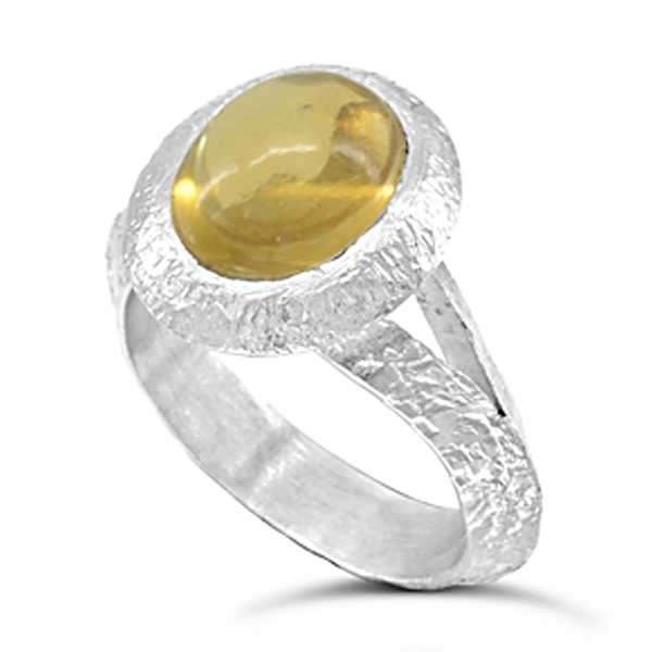 silver and citrine dress ring