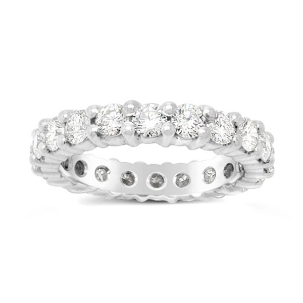 Claw eternity ring in platinum with 2cts 3mm round diamonds