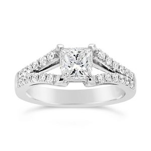 Pave set engagement ring with princess cut diamond in platinum