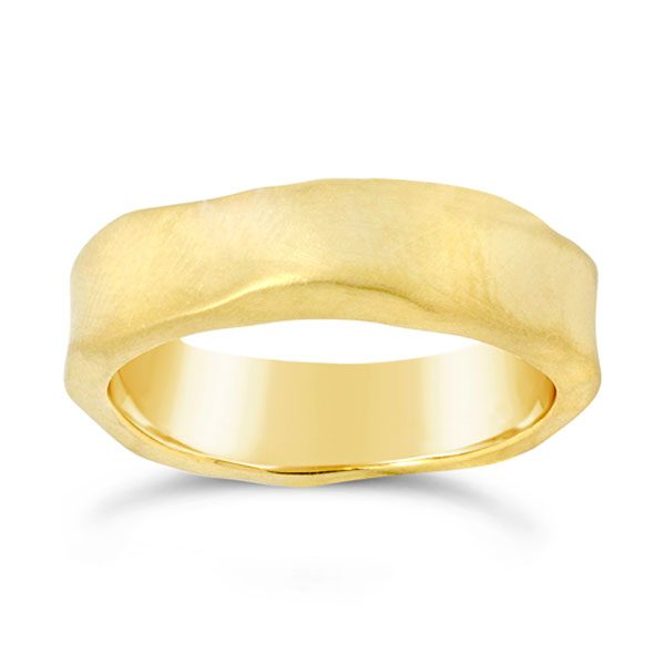 Gold Side Hammered Ring