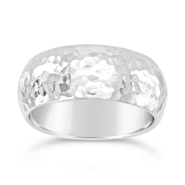 court wedding ring 10mm wide in platinum with a peened hammered finish
