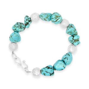Turquoise Nugget Bracelet with silver beads
