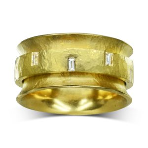 Hammered 22ct gold Spinning Eternity Ring with Baguette Diamonds