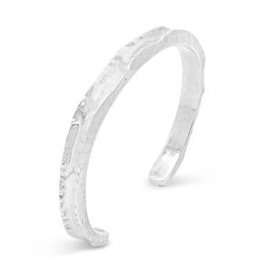 hammered silver cuff 6mm Side Hammered Silver Cuff Bangle
