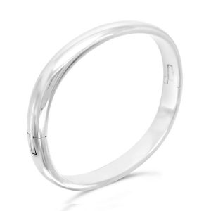 8mm Oval Silver Hinged Bangle