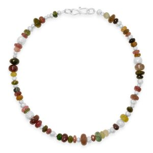 tourmline and silver necklace faceted beads and handmade nuggets