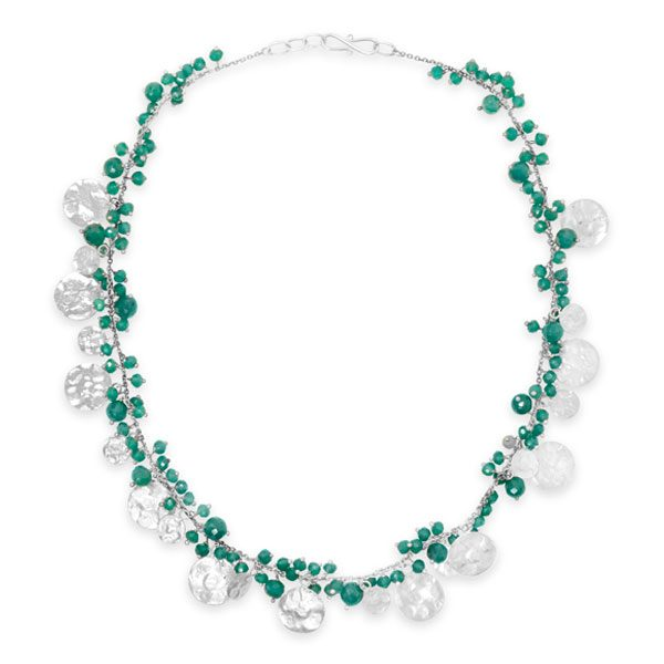 Beaded Chain with Silver Discs Necklace