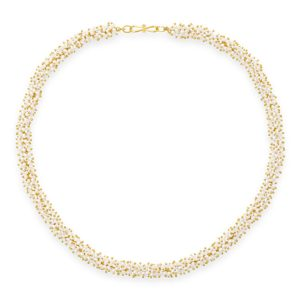 Gold Beaded Pearl Necklace