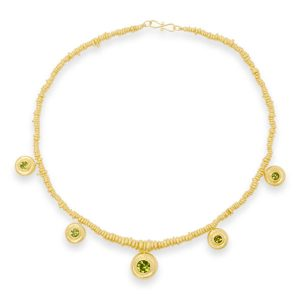 gold Peridot necklace Planished Disc Necklace Silver Gilt