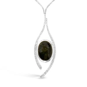 Tourmaline silver necklace Inwards Forged Necklace