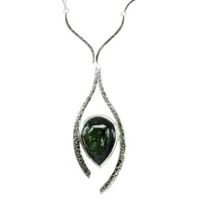 Tourmaline Silver Necklace Inwards Forged