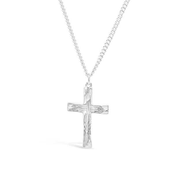 Silver Forged Cross Small Pendant