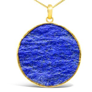 Large lapis lazuli pendant, a 30mm round stone set in gold plated silver