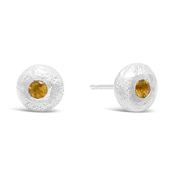 Small 6mm Nugget Studs with Citrine