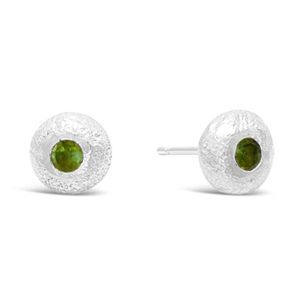 Nugget Studs with Green Tourmaline
