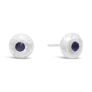silver sapphire nugget earstuds
