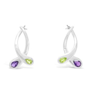Silver, Peridot and Amethyst Moi et toi Earrings