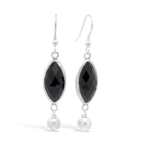 Onyx and Silver Nugget Earrings