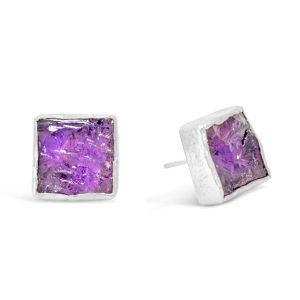 square amethyst earstuds rough cut silver