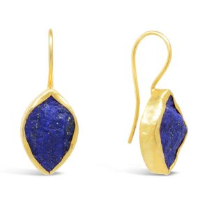 lapis lazuli earrings set with a 15mm marquise shape in gold plated silver