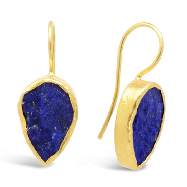 lapis lazuli drop earrings set with a 15mm pear shaped stone in gold plated silver