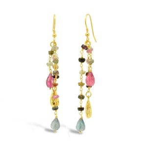 tourmaline earrings gold tassel