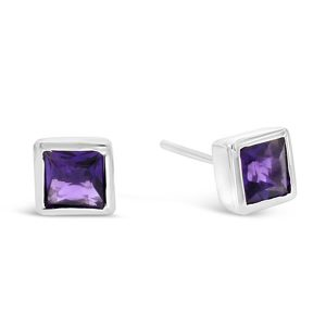 Amethyst square silver earstuds