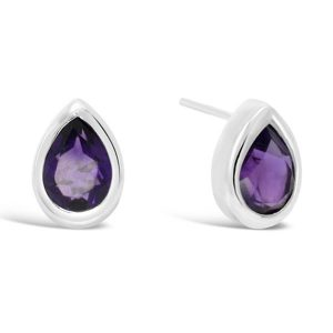 Amethyst silver earstuds with a faceted pear shaped stone