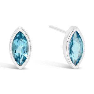 Marquise silver earstuds with faceted blue topaz stones