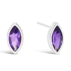 Marquise silver earstuds with amethyst