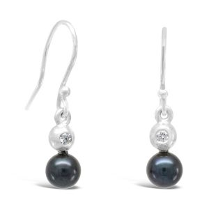 Black pearl earrings in 9ct white gold set with a 2mm diamond