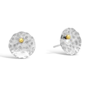 Round Gold Beaded Silver Small Earstuds