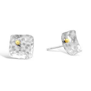 Square Gold Beaded Silver Small Earstuds
