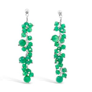 Green Garnet Earrings with silver Beaded Chain