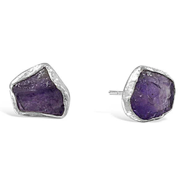 rough amethyst earstuds