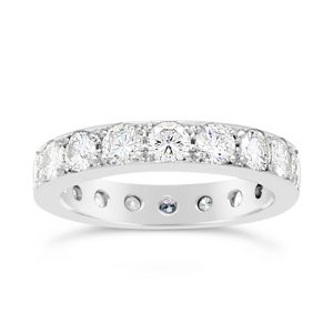 Diamond eternity ring with 2cts of round brilliant cut diamonds in platinum