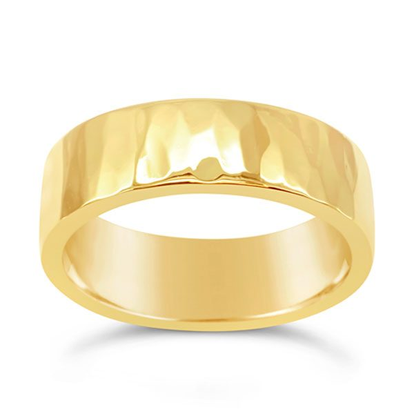 Hammered gold wedding ring 7mm wide in 9ct yellow gold