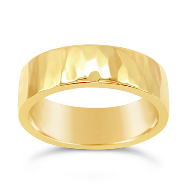 Hammered Gold Wedding Ring 7mm Flat Pruden And Smith