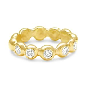 Half eternity ring in 18ct yellow gold nuggets set with 0.5cts round diamonds