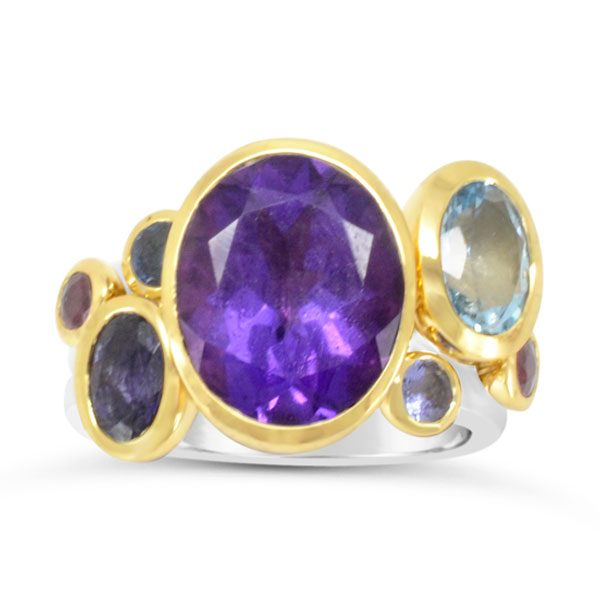 amethyst stacking ring large oval blue mix stones