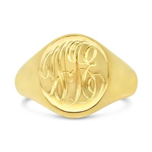 Engraved Script Monogram Gold Signet Ring
