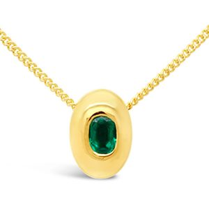 Emerald pendant in 18ct yellow gold in a pebble design