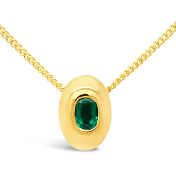 Bespoke Emerald pendant in 18ct yellow gold in a pebble design
