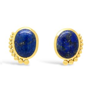 Gold Lapis Lazuli Earrings Medium
