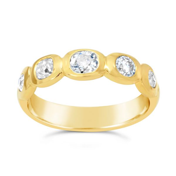 Old cut diamond gold nugget eternity ring