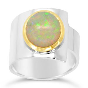 Large Opal Ring & Silver Wrap Round Ring with Gold Setting