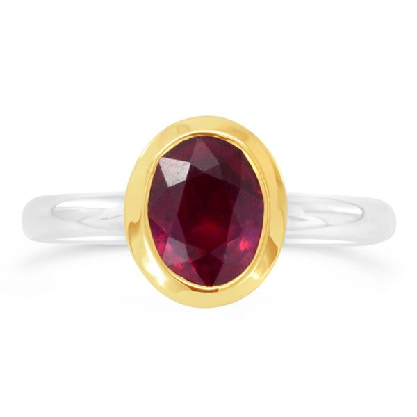 Oval Ruby Stacking Ring