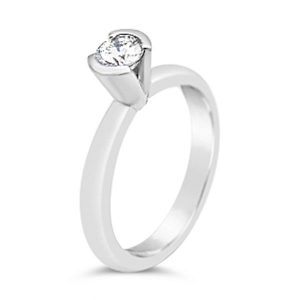 unusual platinum engagement ring with V setting