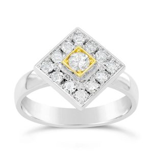 Platinum & 18ct Gold Square Diamond Cluster Ring