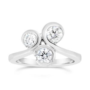 Three diamond ring in platinum in a swirl design